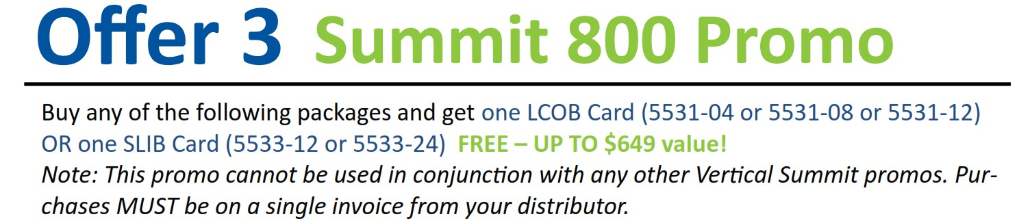 Offer 3 Summit 800 Promo
